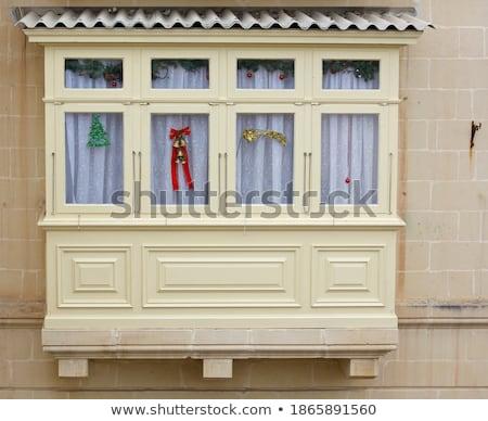 Tradycyjny balkon okno Malta budynku ściany Zdjęcia stock © boggy