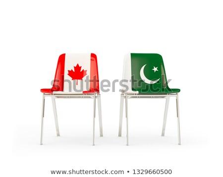 Iki sandalye bayraklar Kanada Pakistan yalıtılmış Stok fotoğraf © MikhailMishchenko
