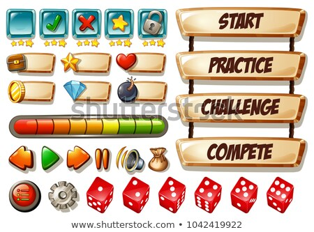 Game elements with dices and other icons stock photo © colematt