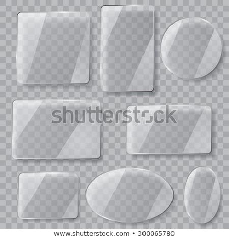Vidrio placas establecer banners transparente tecnología Foto stock © olehsvetiukha