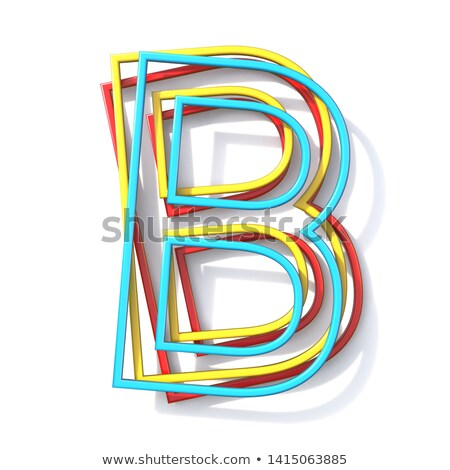 Three basic color wire font Letter B 3D Stock photo © djmilic