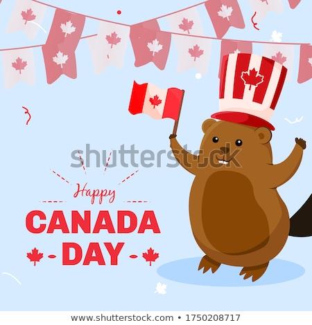 Cartoon beaver holding a sign Stock photo © bennerdesign