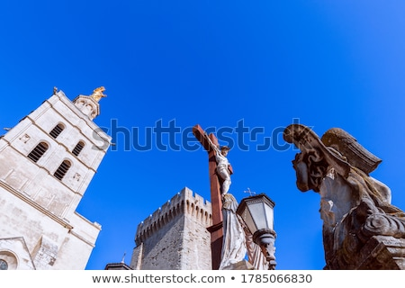 Angel sculpture at front of Avignon cathedral of Our Lady of Dom Stock photo © boggy