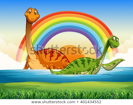 Scene with two dinosaurs in river Stock photo © colematt
