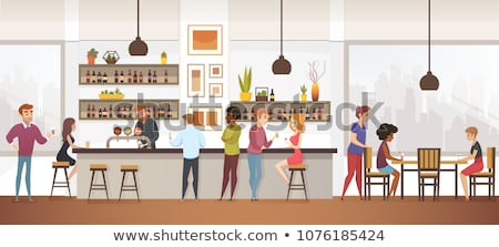 men and women in city cafe interior and exterior stock photo © robuart