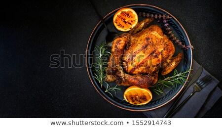 Aves de corral plato piezas mama cena Foto stock © Saphira