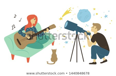 Guitarist Woman Astronomy Hobby, Pastime Vector Stock photo © robuart