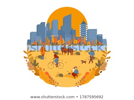 man walking with dog in park circle vector poster stock photo © robuart