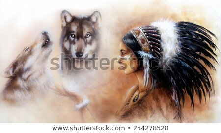 Native American Woman Wearing Wolf Head Stock photo © patrimonio