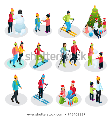 Stok fotoğraf: Winter Activities People And Family Set Vector