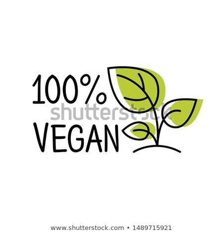 100 vegetariano etiqueta línea estilo logo Foto stock © MarySan