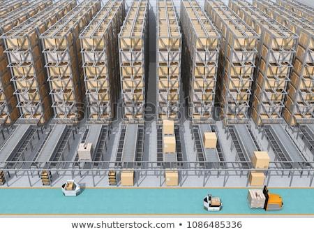 3d rendering robots carry boxes on conveyor belt 3d illustration stock photo © wetzkaz