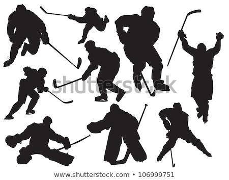 Hokej sportowe gracz sylwetka ilustracja projektu Zdjęcia stock © Krisdog
