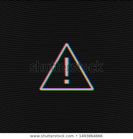 Glitched attention sign on black background with tv moire noise texture. Computer hacked danger Stock photo © Iaroslava