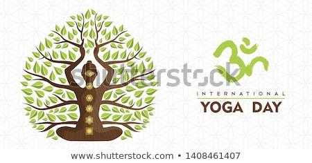 International Yoga Day tree woman banner  Stock photo © cienpies