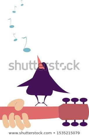 Guitar fingerboard, hand and singing bird illustration Stock photo © tiKkraf69