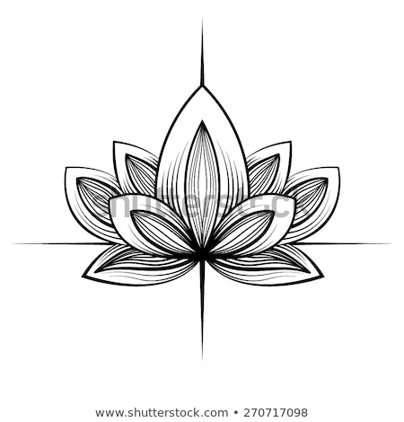 Stock photo: Lotus icon. Logo outline illustration of lotus flower. Black and white hand drawn line art style