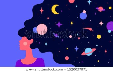 Kobieta sen wszechświata proste charakter nowoczesne Zdjęcia stock © FoxysGraphic