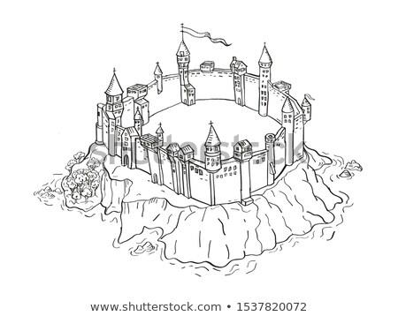 замок крепость острове Vintage фантазий карта Сток-фото © patrimonio