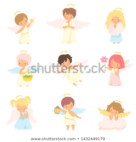 Cute baby engel vliegen witte vleugels Stockfoto © jossdiim