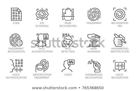 Scan Fingerprint in Phone Icon Vector Outline Illustration Stock photo © pikepicture