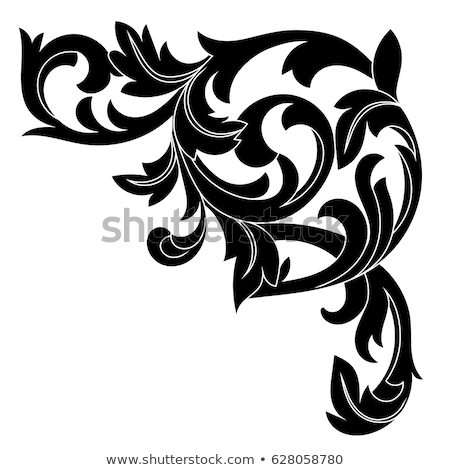 Filigree Leaves Corner Floral Scroll Pattern Stock photo © Krisdog