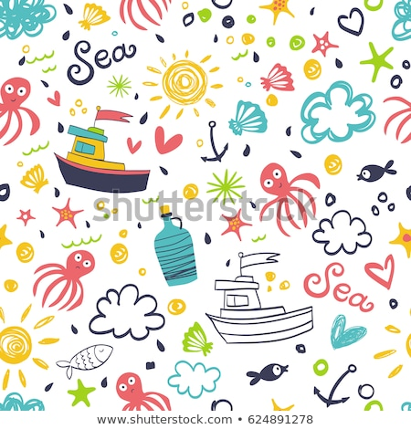Vacation travel color seamless vector pattern Stock photo © barsrsind