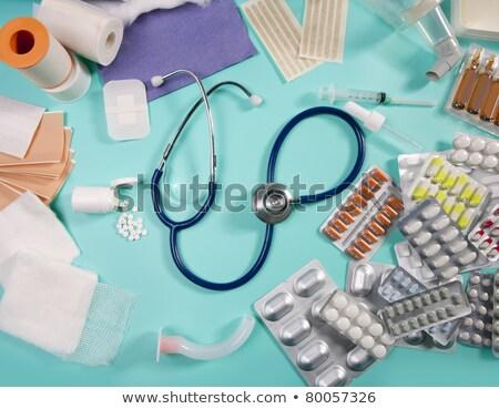 hólyag · orvosi · tabletták · gyógyszeripari · sztetoszkóp · zöld - stock fotó © lunamarina