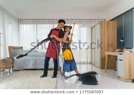 азиатских женщину пылесос домой домашнее хозяйство Сток-фото © dolgachov
