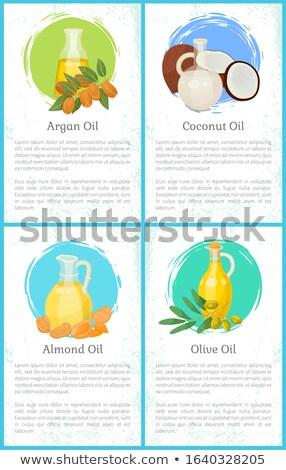 Olajbogyó mandula kókusz olajok szett képek Stock fotó © robuart