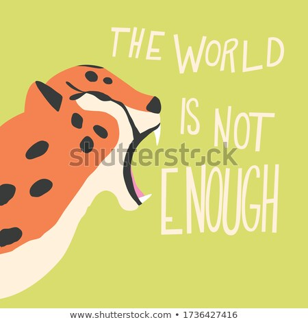 Cute exotic wild big cat cheetah roaring on mint green background with hand lettering message. Flat  Stock photo © BlueLela