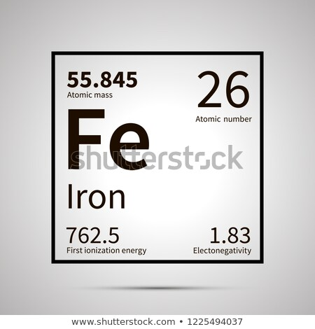Iron chemical element with first ionization energy, atomic mass and electronegativity values ,simple Stock photo © evgeny89