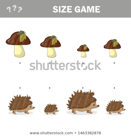 Autumn matching game for children, connect hedgehogs with mushrooms by size Stock photo © natali_brill
