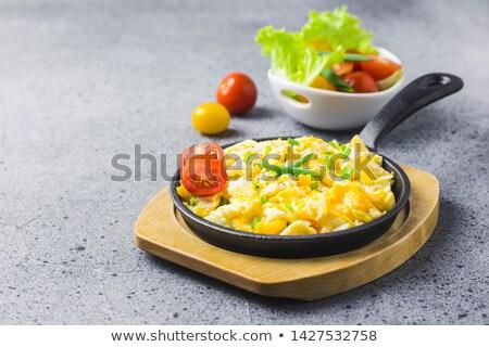 Krémes rántotta gombák spenót közelkép tányér Stock fotó © zkruger