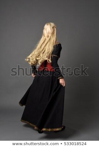 Gyönyörű szőke nő szürke jelmez portré izolált Stock fotó © Pilgrimego