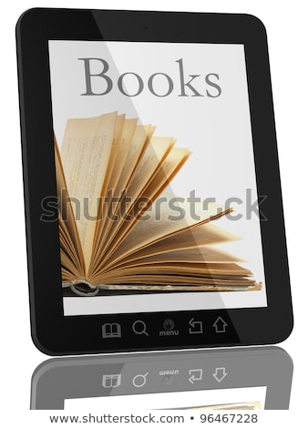 Foto stock: Generic Tablet Computer And Book - Digital Library Concept