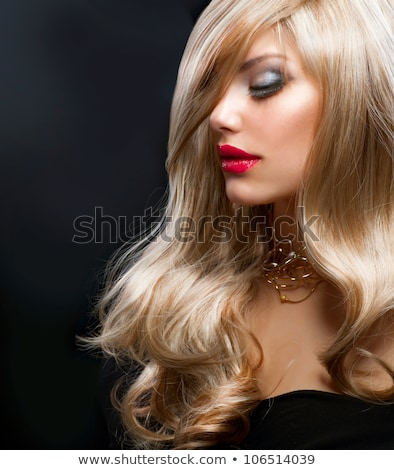 Blond woman portrait over red Stock photo © aladin66