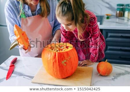 Halloween meisje gothic pompoen lantaarns Stockfoto © aelice