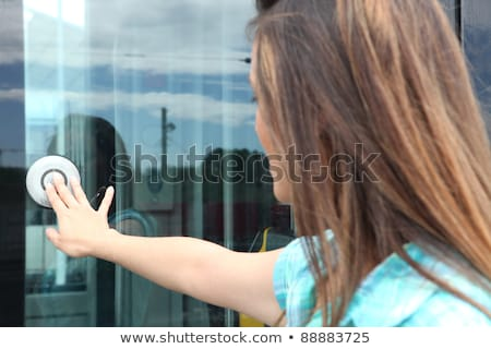 Nők nyitás villamos ajtó város tájkép Stock fotó © photography33