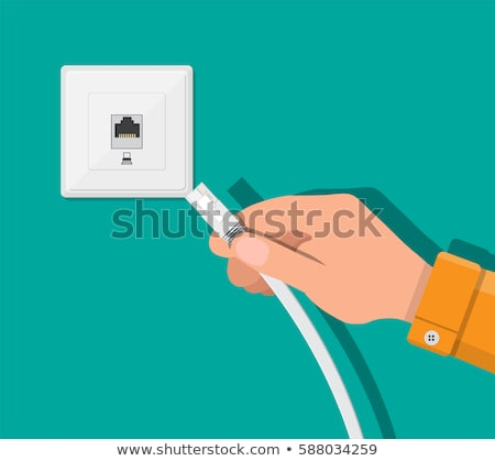 Jacks of the LAN cable plugged in router Stock photo © deyangeorgiev
