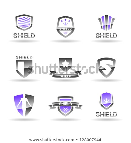 icon with shield ribbon and wings Stock photo © LoopAll