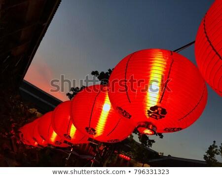 Kínai új év dekoráció dísz piros cseresznyevirág ünnepi Stock fotó © azamshah72