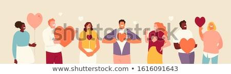 groep · mensen · hart · menigte · mensen · alle · kleuren - stockfoto © xedos45