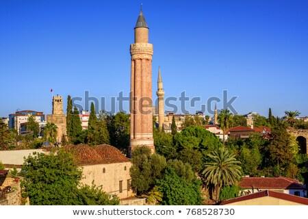 moskee · minaret · hemel · boom · wolken · stad - stockfoto © gertje