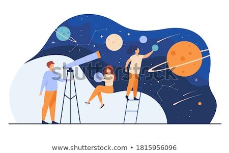 Csillagászat naplemente égbolt csillagok összes levegő Stock fotó © xedos45