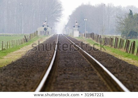 ストックフォト: Railtrack With Hazy Crossing
