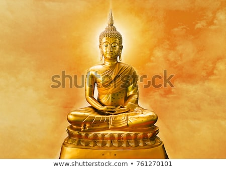 szobor · Buddha · arany · békés · meditáció · művészet - stock fotó © Gertje