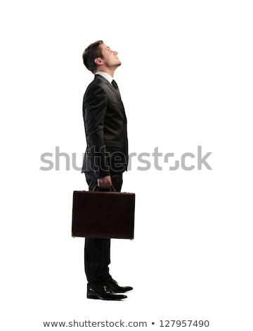 portré · derűs · üzletember · áll · szürke · férfi - stock fotó © leedsn