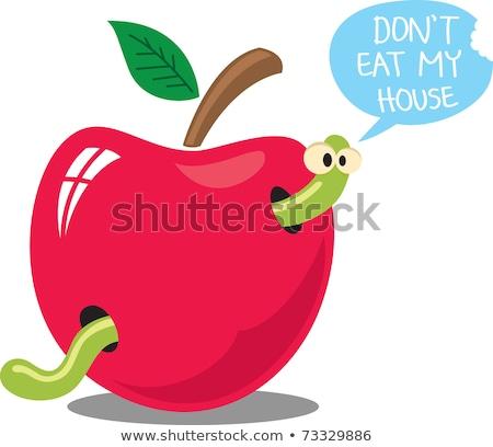 maçã · verme · preto · e · branco · desenho · animado · ilustração · comida - foto stock © galyna