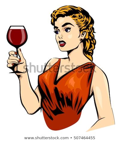 Retro portrait of Lady with glass of wine Stock photo © zastavkin